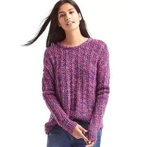 NWT Gap Marled Chunky Knit Crewneck Sweater Pink
